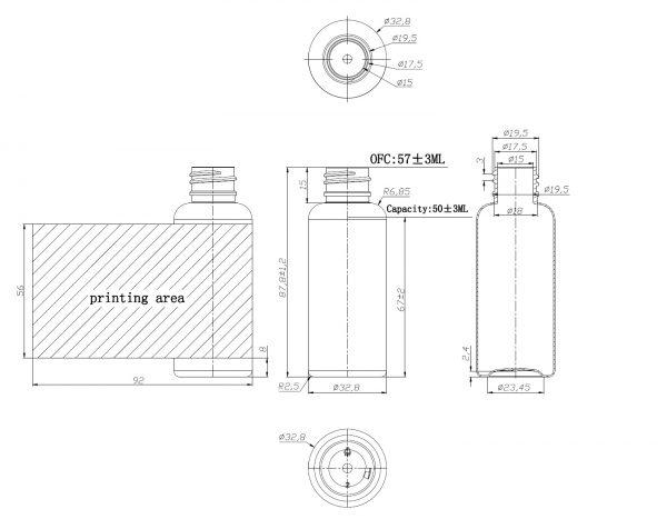 50ML PET Plastic Bottle 20/410 Neck with Flip Top Cap