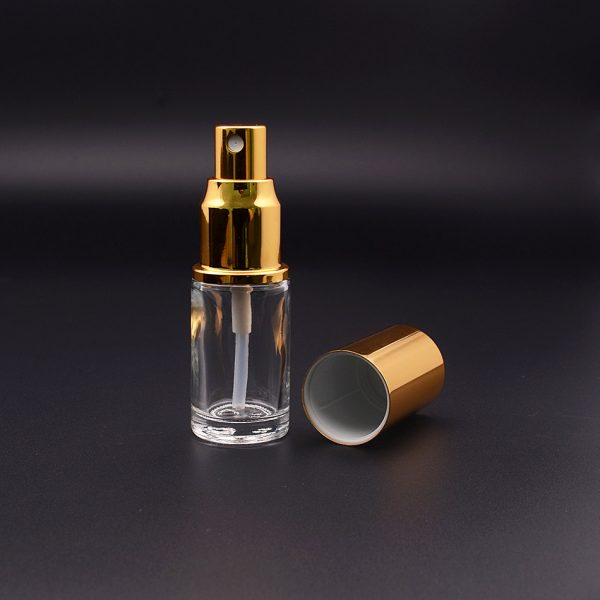 20ML CLEAR GLASS PERFUME BOTTLE WITH GOLD SPRAYER